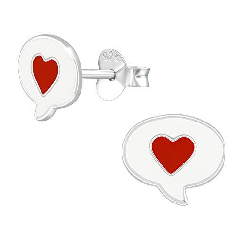 Monkimau Oorbellen voor meisjes, hartje, spreekblaas, oorstekers van 925 sterling zilver