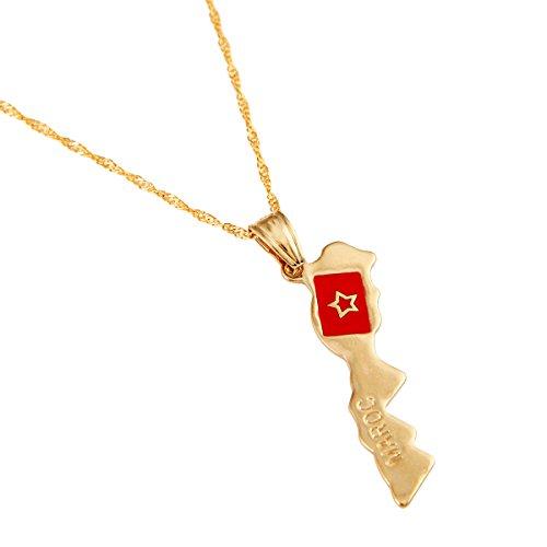 BR Gold Jewelry Halskette mit Anhänger Marokko Karte vergoldet