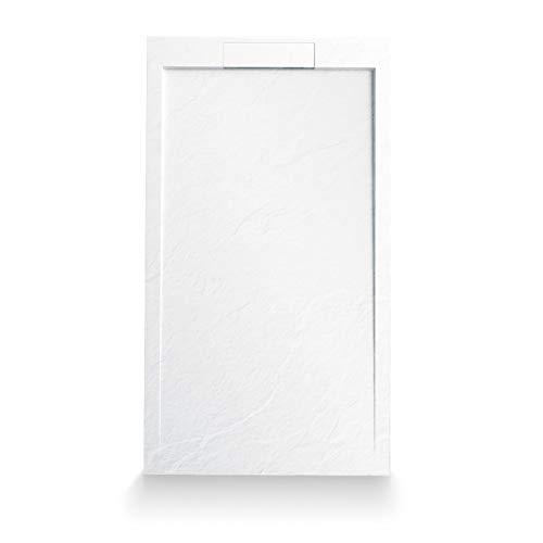 Mineralguss Duschtasse, Schieferoptik, 140 x 90 cm, Duschwanne, Extraflach nur 2,5cm, weiß, bodenebene Montage, inklusive Ablauf