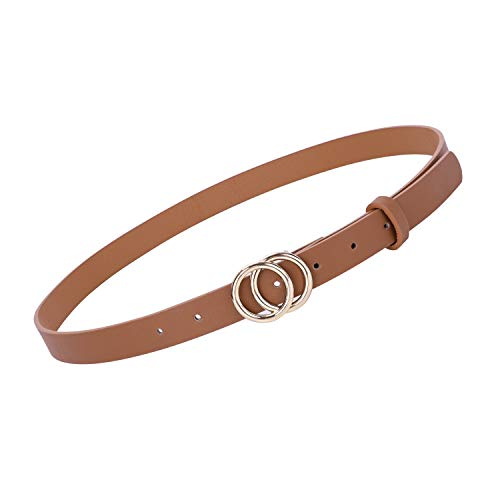 Fashion Designer Belts Women Skinny Brown Leather Belts for Jeans Dress Pants with Gold Double O-Ring Buckle,Brown, Fit Pants Size 24-27 Inch