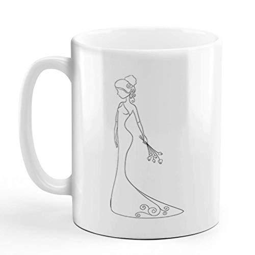 N\A Taza de café 11 onzas Vestido de Novia Desnudo de la Novia 1 Taza de té de cerámica Diseño Solamente