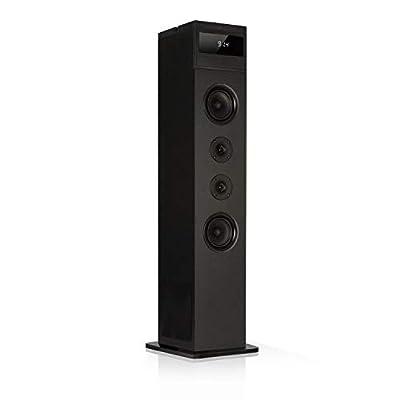 AUNA Karaboom 100 - Tower speaker, Floor standing speaker, Speaker box, 120 Watt max, Bluetooth, FM radio, 2 in 1 USB, Space saving, Tablet holder and shelf for smartphones, Black from AUNA
