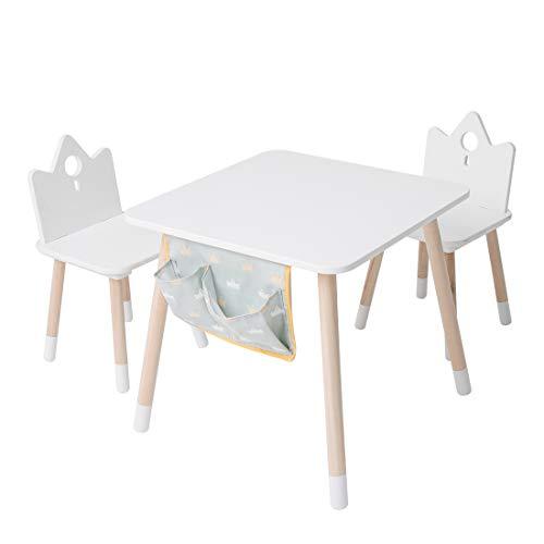 JOLIE VALLÉE TOYS & HOME - Set di tavolo e sedie in legno, per camera da letto, tavolo per attività per bambini, tavolo da picnic per bambini