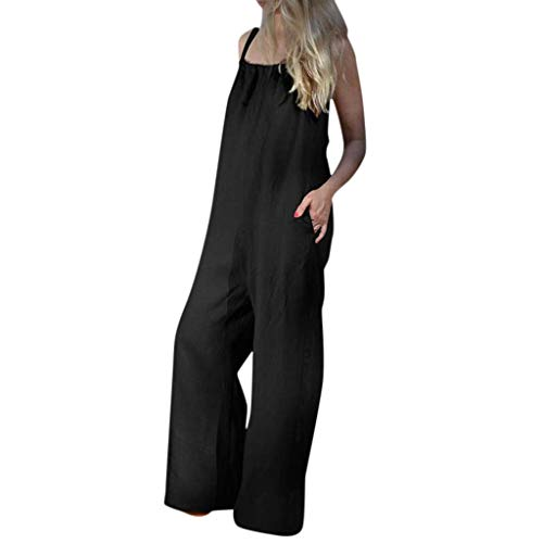 Women Summer Sleeveless Loose Wide Leg Bib Pants Jumpsuit Romper Playsuit Plus Black