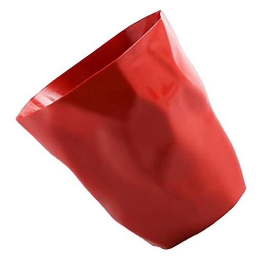 Fenteer Abfalleimer – Papierkorb für Büro, Badezimmer, Wohnzimmer - Rot Groß