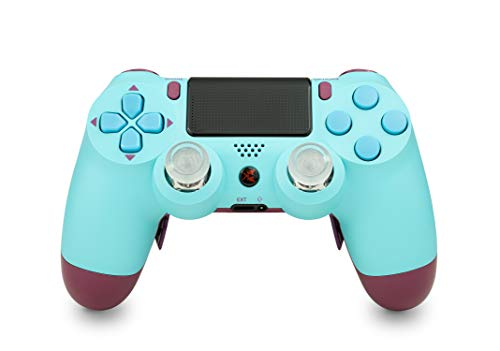 KING CONTROLLER® PS4 Manette Curved Paddles Custom Design Berry Blue (bleu, rouge) - DualShock 4 - PlayStation 4 Pro Slim - Wireless PS4-Controller