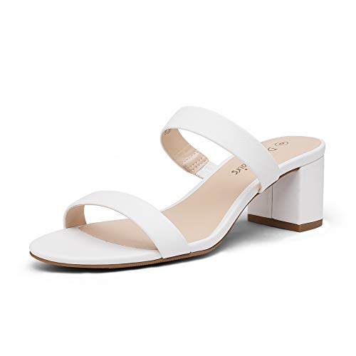 DREAM PAIRS Women's Dhs213 Two Strap Open Toe Low Block Chunky Heels Sandals Dress Pumps Shoes, White Pu, Size 8.5