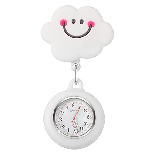 Balacoo Krankenschwester Uhr Taschenuhr Wolken Schwesternuhr Quarzuhr Krankenschwesteruhr Ansteckuhr Brosche Quarzwerk Pflegeuhr Fob Uhr Geschenke für Arzt Krankenschwester Damen