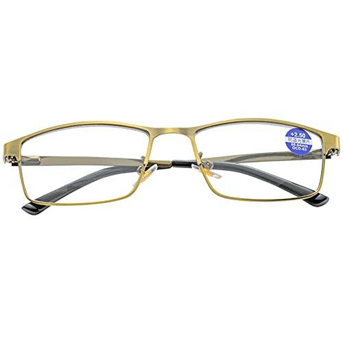 LGQ Gafas de Lectura con luz Anti-Azul para Hombres y Mujeres, Lupa con Lente de Resina asférica, Gafas ópticas con decoloración HD,+1.00