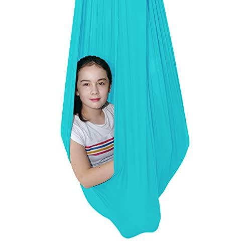 Soft Nylon Hamaca Columpio De Terapia De Interior para Niños Y Adolescentes con Más Necesidades Especiales Integración Sensorial Camping Al Aire Libre (Color : Lake Blue, Size : 150 * 280cm)