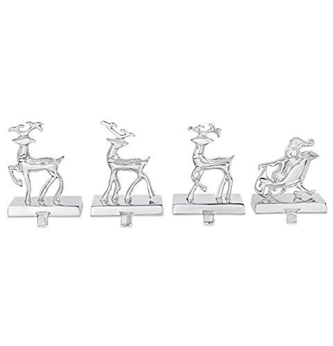 Reindeer & Santa Claus Stocking Holder Set for Mantle - Set of 4 - Christmas Decorations Clearance - Reindeer- Holiday Mantle Fireplace Topper - Decorative Metal Stocking Holder - Décor Stand Hanger