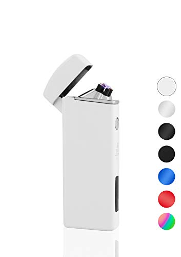 TESLA Lighter T14 Lichtbogen-Feuerzeug, elektronisches USB Feuerzeug, Double-Arc Lighter, wiederaufladbar, Weiß