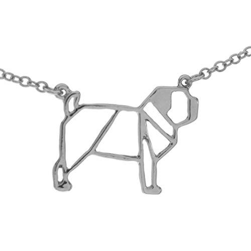 pretty_awesome Halskette Mops Pug Puglove Blogger Origami Geometrie Statementkette, Edelstahl Hochglanz (silber)