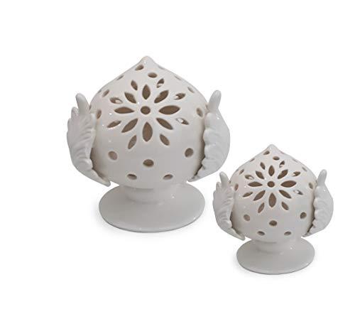 Lupia Pumo Salentino mit Mikro-LEDs, Dekoration aus Keramik, typisch pulisch.