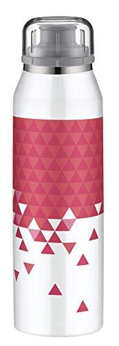 alfi 5677.121.050 Isolier-Trinkflasche isoBottle, Edelstahl Style White-Pink 0,5 l, 12 Stunden heiß, 24 Stunden kalt, Spülmaschinenfest, BPA-Free