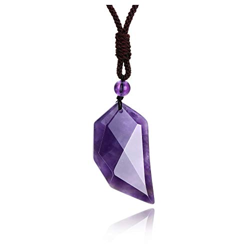 JSDDE Natural Amethyst Crystal Necklace Faceted Healing Crystals Quartz Gemstone Pendant Necklaces Jewelry for Men Women