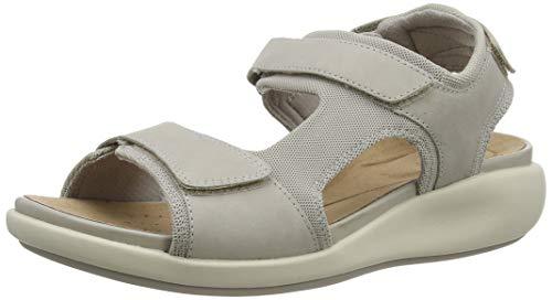 Clarks Un Bali Trek, Sandali con Cinturino alla Caviglia Donna, Grigio (Stone Combi Stone Combi), 39 EU