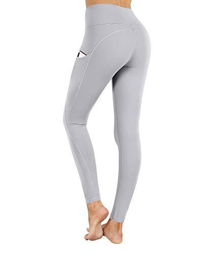PHISOCKAT High Waist Yoga Pants with Pockets, Tummy Control Leggings for Women, Workout 4 Way Stretch Yoga Capris Leggings (Greyish, X-Small)