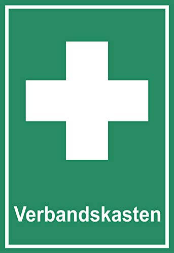 SCHILDER HIMMEL anpassbares Verbandskasten Erste Hilfe Schild 21x15cm Kunststoff mit Klebestreifen, Nr 516 in verschiedenen Größen (A0 bis A5) und Materialien