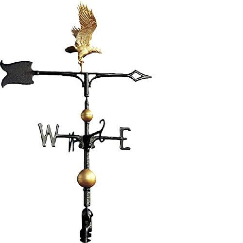 TAOBEGJ Dach Wetterfahne, langlebige Garten Metall Eisen Wetterfahne Retro Farm Szene Pfahl Windfahne Professionelle Messwerkzeuge,Metallic