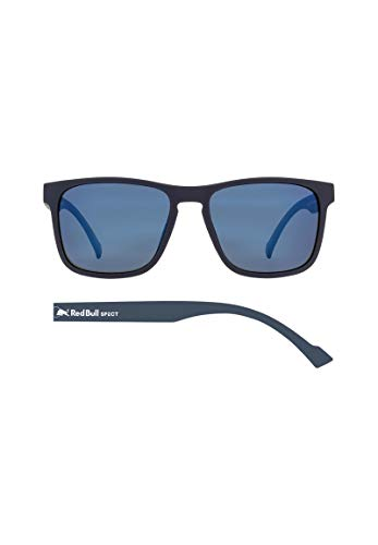 Red Bull Spect Leap Sunglasses One Size Matt Dark Blue Rubberised ~ Smoke Blue Mirror