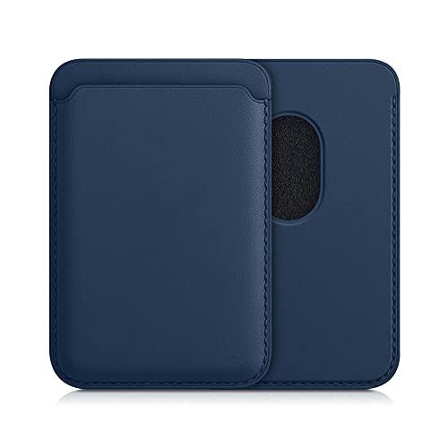 kwmobile Porta Carte Smartphone compatibile con Apple iPhone 12 Series iPhone 13 Series - Portacarte Magnetico in Pelle PU - Taschino per Tessere - blu scuro