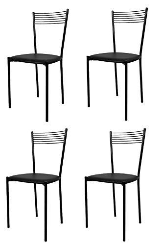 Tommychairs - Set 4 sedie modello Elegance per cucina bar e sala da pranzo, struttura in acciaio verniciata colore nero e seduta imbottita e rivestita in pelle artificiale colore nero