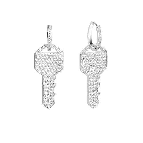 Pendientes de aro brillantes con forma de llave de cristal para mujer o novia.