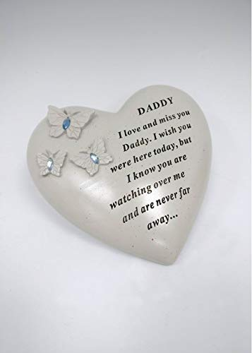 iTrend Special Memorial - Daddy Heart with 3 butterflies & Blue Gems – Graveside Ornament Plaques Crematorium Tribute- 16 x 14cm
