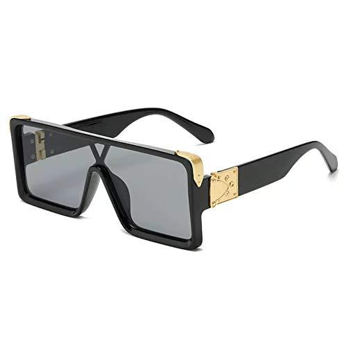 HHAA Gafas De Sol Cuadradas De Gran Tamaño con Parte Superior Plana A La Moda para Mujer, Gafas De Sol Retro con Montura Grande, Gafas Coloridas Vintage Uv400, Gafas De Sol