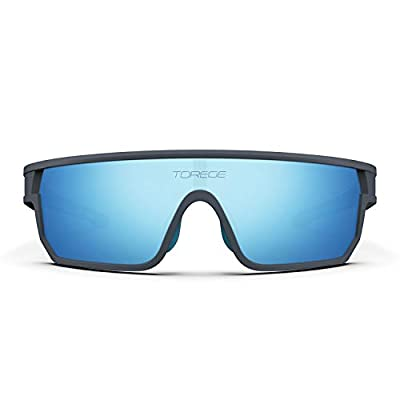TOREGE Polarized Sports Sunglasses For Man Women Cycling Running Fishing Golf TR90 Fashion Frame TR16 Warrier (Matte Grey&Blue&Light Blue Lens)