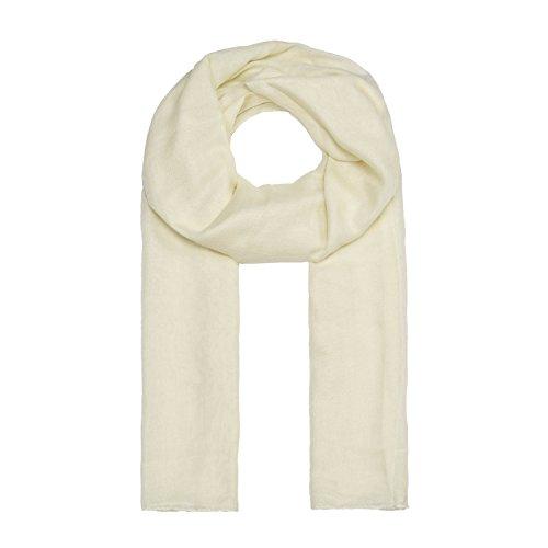 MANUMAR Schal für Damen einfarbig   Hals-Tuch in creme als perfektes Herbst Winter Accessoire   Klassischer Damen-Schal   Stola   Mode-Schal   Geschenkidee für Frauen und Mädchen