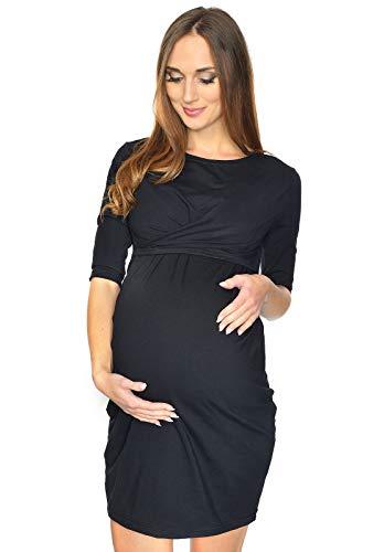 MijaCulture 2 in1 Umstandskleid Stillkleid Kleid Schwangerschaftskleid UNA 7142 (EU38 / M, Schwarz)