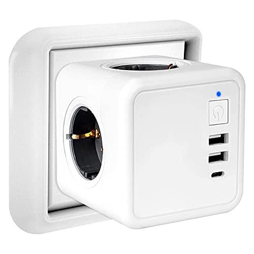 USB Steckdose Kabellos, 7 in 1 Steckdosenadapter Würfel mit Schalter, 4 Fach Steckdosen , 2 USB Anschluss (3.1A) und 1 type C Schalter Steckdosenwürfel Kabellos für Büro,Zuhause,Reisen