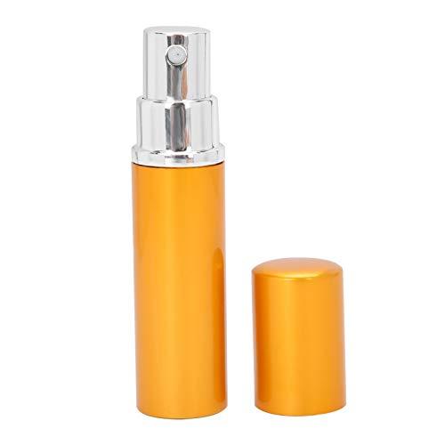 Botella de perfume recargable del atomizador del perfume con la tapa de la cáscara 5pcs para el bolsillo o el viaje, al aire libre, oficina(Golden)