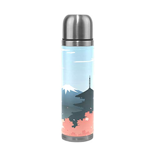 Eslifey Japan Mount Fuji Botella de agua a prueba de fugas, aislada, doble vacío, termo de acero inoxidable, 500 ml