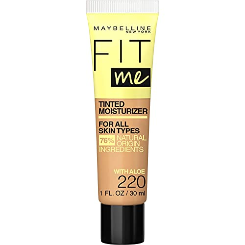 Maybelline New York Fit Me Tinted Moisturizer, Fresh Feel, Natural Coverage, 12H Hydration, Evens Skin Tone, Conceals Imperfections, 220, 1 Fl Oz