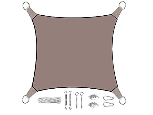 Voile d'ombrage carré de 3,6 m - Couleur : gris/marron - Avec œillets - Kit de montage pratique - Protection solaire pour votre jardin/balcon.