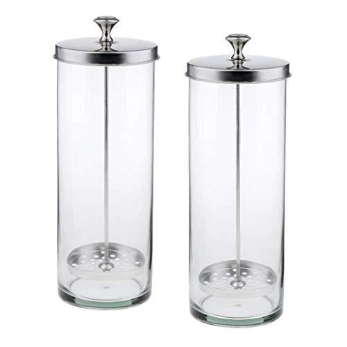 Recipiente de tarro esterilizador de vidrio de 2 piezas para tijeras, peines, pinzas, herramientas L