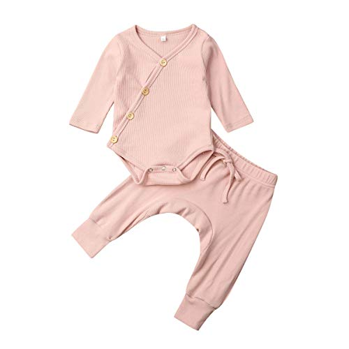 Bebé Recién Nacido Pijama 2 Piezas Conjunto de Ropa para Dormir de Algodón Pelele Unisex de Niños Niñas Pequeños Mameluco/Camiseta de Manga Larga + Pantalones Largos (Rosa, 12-18 Meses)