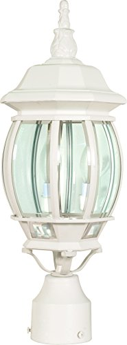 Nuvo Lighting 60/897 Central Park Outdoor Post Lantern Light Fixture with Clear Beveled Glass, 21 x 7.38 Inches, 60 Watts/120 Volts (White)