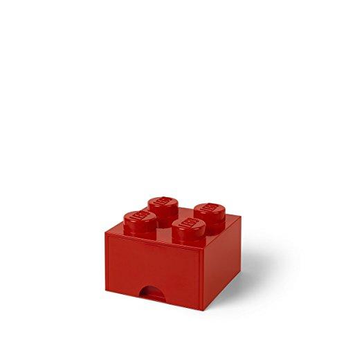 Room Copenhagen LEGO Brick Drawer, 4 Knobs, 1 Drawer, Stackable Storage Box, Bright Red