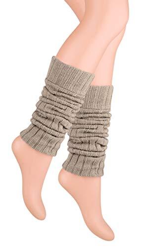 Ateena - Calentadores de piernas de lana, cálidos y cómodo, de varios colores, regalo perfecto para el invierno Beige beige Talla única