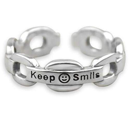 Brishow Women's Statement Rings Silver Smiling Face Band Rings Keep Smiles Open Rings Lucky Smiley Stainless Steel Adjustable Bands for Women and Girl