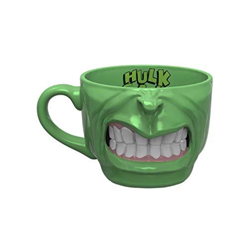 Zak Designs Marvel Comics Einzigartige 3D-Charakter Skulpted Keramik Sammlerstück Andenken und wunderbare Kaffeetasse (17 Unzen, BPA-frei), groß, Hulk Half Face