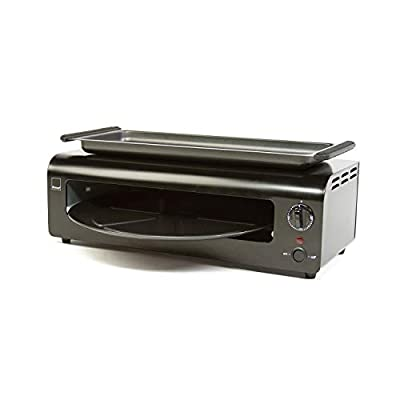 Ronco Pizza and More, Pizza Oven with Warming Tray, Countertop Open-Air Convection Oven, Cooks 40% Faster, Party Convection Oven, Automatic Shut-Off Timer, Includes Warming Tray and Non-Stick Pan, Dishwasher Safe Accessories (Black)