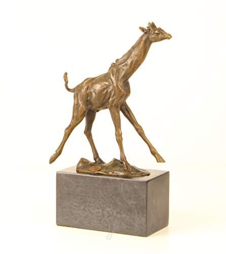 Moritz Design Bronze Statue große Giraffe auf Mamorsockel 7,4 x 18 x 25,9 cm Skulptur Bronzestatue Bronzefigur Bronzeskulptur