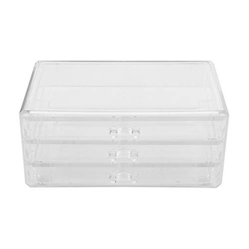 Lurrose - Caja de almacenamiento de cosméticos de acrílico, 3 cajones, transparente a prueba de polvo, organizador de maquillaje, caja de baño para pintalabios, esmaltes de uñas, cepillos de joyería