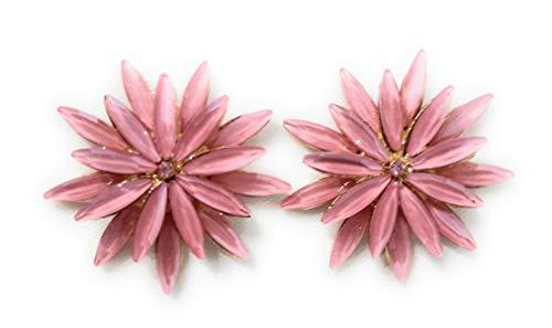 Pendientes Cristales Colores Mujer Fiesta Boda Pendientes Elegantes con Forma de Flor y Dorso Chapado Oro, Rosa