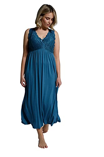 Ulla Popken Damen große Größen Übergrößen Plus Size Nachthemd, Spitze, Träger verstellbar, ärmellos Petrol 54+ 796096736-54+
